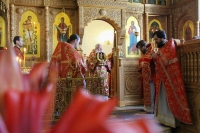 В день памяти Царственных Страстотерпцев митрополит Орловский и Болховский Тихон совершил Литургию в храме Иверской иконы Божией Матери Орла. 17 июля 2020 г.